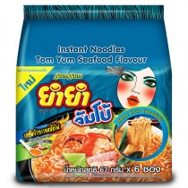 Yum Yum Jumbo Instant Noodles Tom Yum Seafood Flavor 67 G. Pack 6
